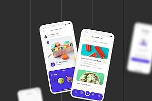 简洁的美食主题ios app设计套件工具包
