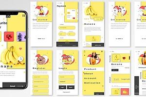 iOS系统的黄白配色健康饮食商店app UI Kit设计模板