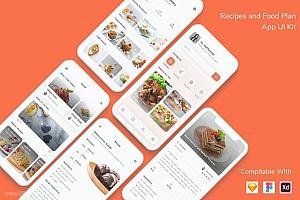 现代简洁的食谱计划app UI Kit设计模板