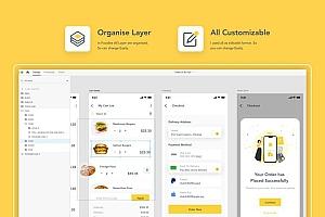 美食外卖订购配送iOS app UI kit界面设计模板