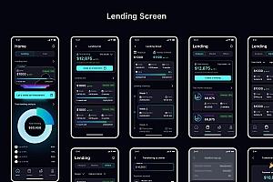 深色模式金融贷款借还iOS APP UI Kit设计figma模板—Pinance