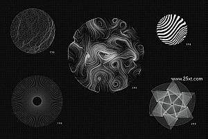 200 个美丽的抽象矢量线条形状元素素材