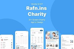 简约干净的慈善公益主题iOS APP UI Kit设计模板——Rafnins