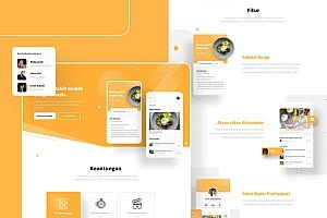 美食app宣传推广的互动网页设计模板