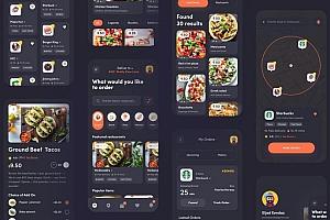 美食配送服务类app UI kit界面设计模板
