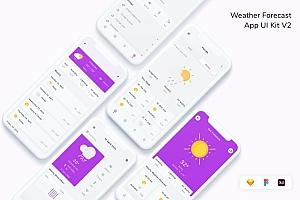 极简现代的天气预报APP UI Kit设计模板