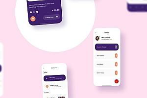 可爱的冰淇淋外送点餐iOS app UI kit界面设计模板