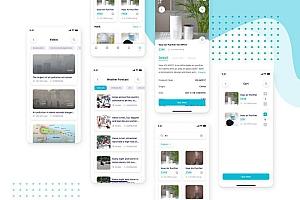 空气质量实时监测app UI Kit界面设计模板—Airquaty