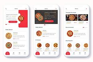 披萨外卖配送app ui kit界面设计模板-Denrit