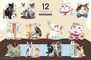 卡通水彩手绘的可爱猫咪宠物PNG插画素材