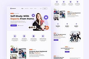 家教在线自主学习平台网站着陆页设计模板——Homysky
