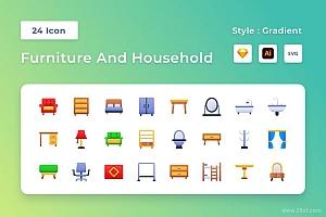 24个家具和家居相关的渐变彩色矢量图标素材