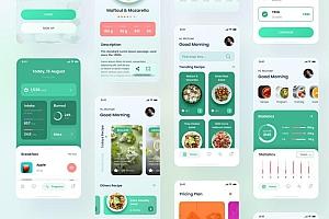 iOS苹果系统健康饮食APP应用界面设计Figma&PSD模板