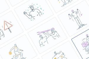 精致手绘线条的人物活动场景矢量插画素材