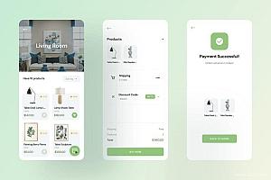 家居装饰用品购买iOS APP UI kit设计模板—Homies