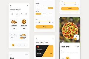 极简的外卖送餐App  UI Kits界面设计模板