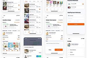 时尚现代的送餐交付app UI Kit设计模板