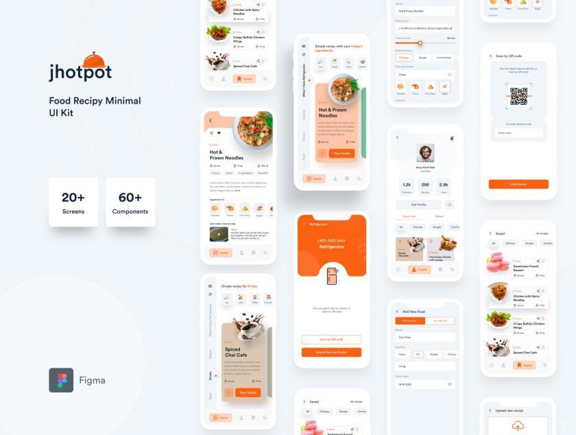 现代极简的食谱app UI Kit设计figma模板—Jhotpot