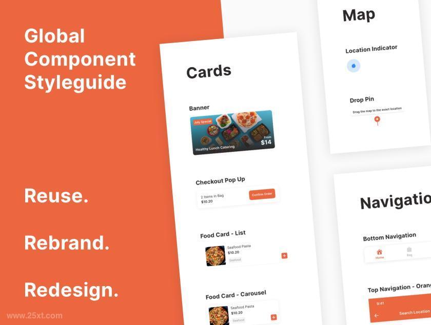 现代风格的食品配送交付app UI Kit设计模板