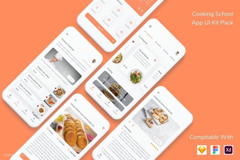 现代设计的烹饪教学app UI Kit设计模板