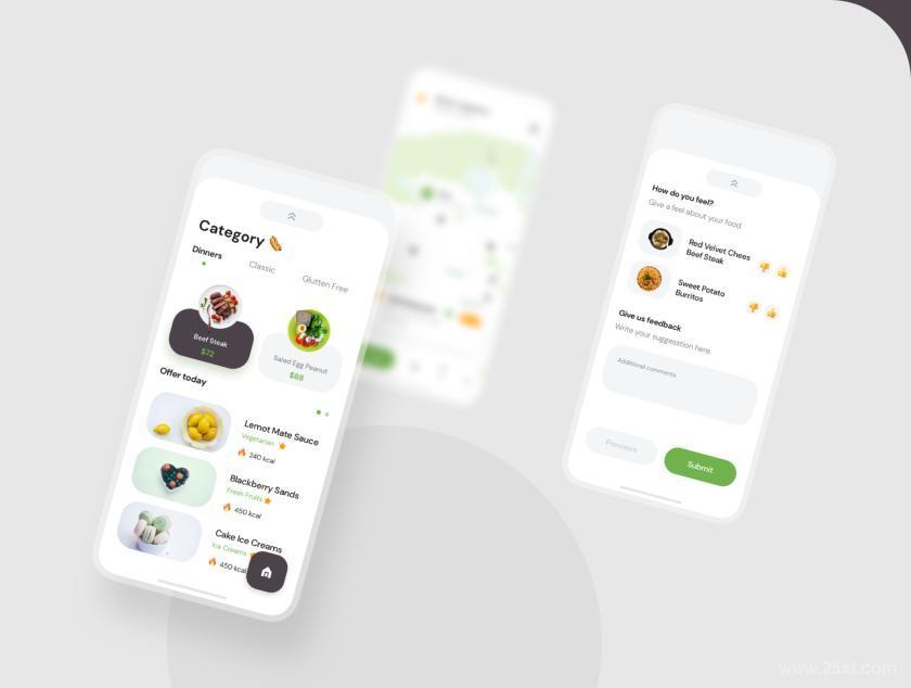 高级现代的食品配送交付app UI Kit设计模板—Poris