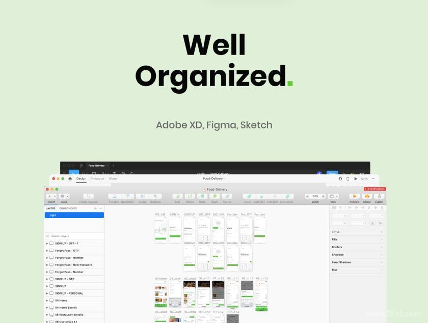 现代便利的iOS送餐交付app UI Kit设计模板